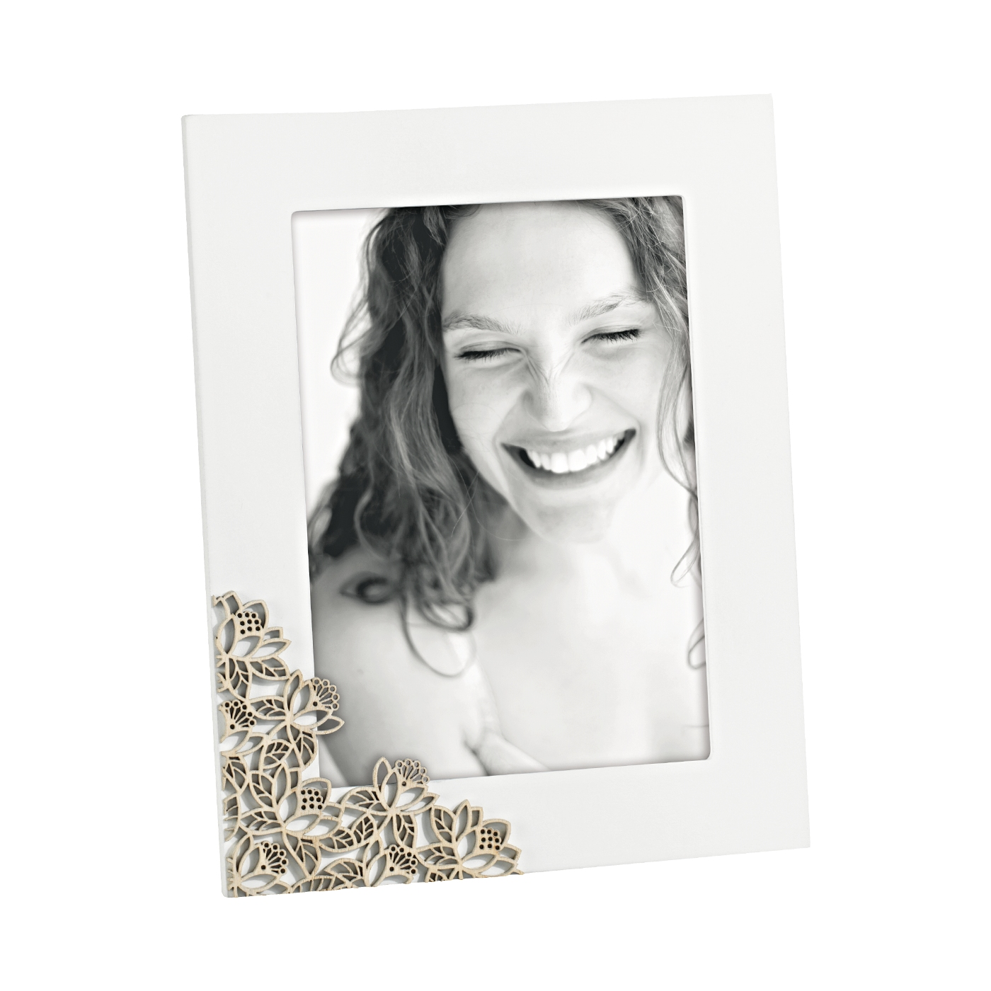 A770  FRAME WOODEN LACE WHITE  13x18