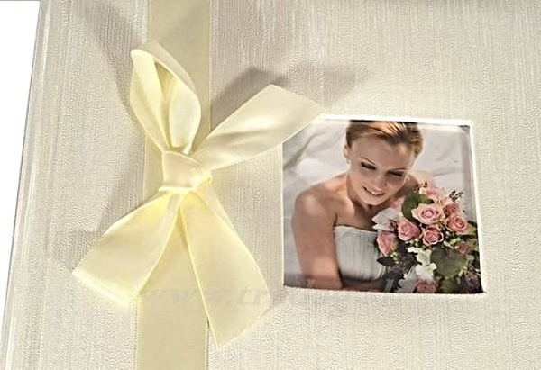 FOTOALBUM W WEDDING RIBBON SS 40str.25,8X28 BOX